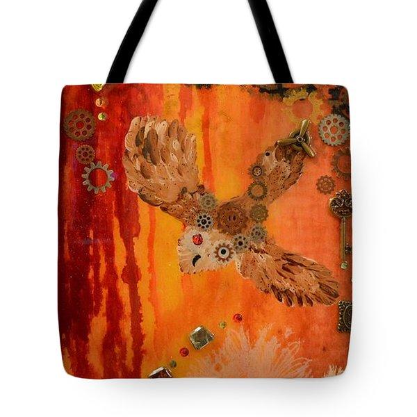 Steampunk Owl Red Horizon Tote Bag