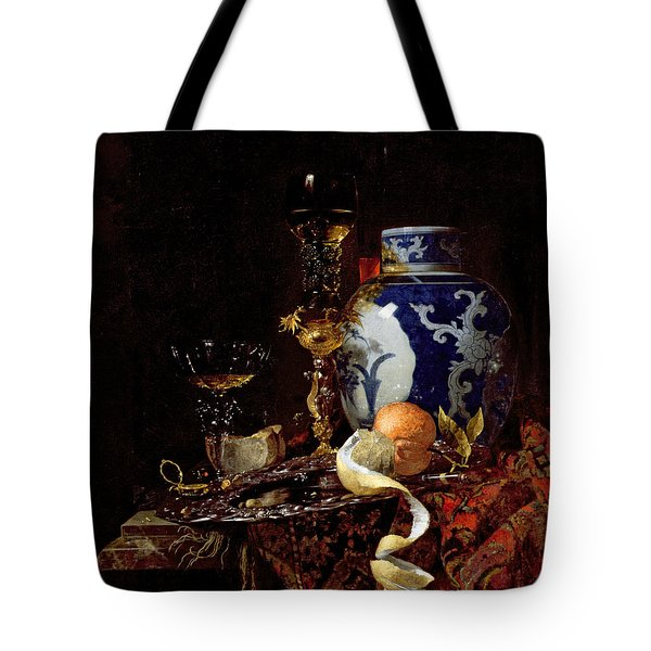 Still Life With A Chinese Porcelain Jar Tote Bag by Willem Kalf