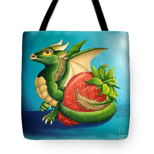 Tote Bag featuring the painting Strawberry Dragon by Mary Hoy