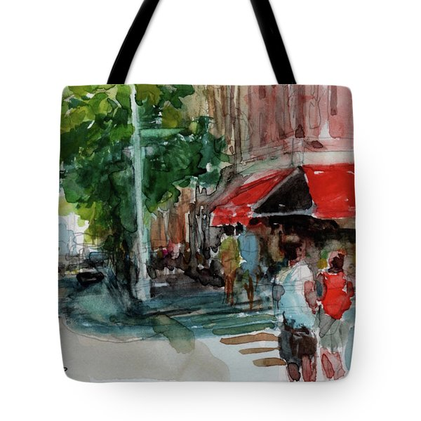 Streetscape With Red Awning - 82nd Street Market Tote Bag by Peter Salwen