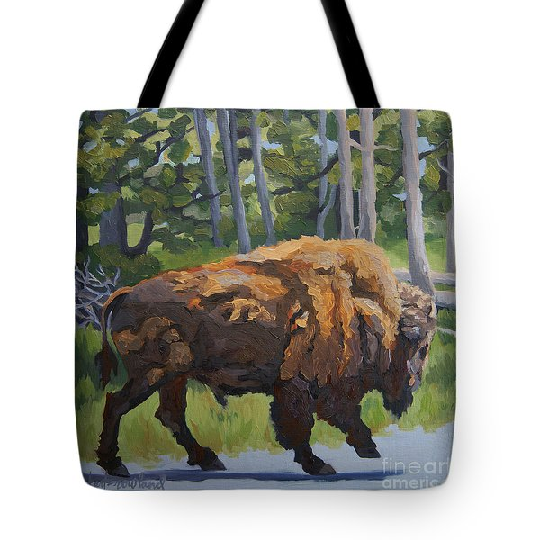Tote Bag featuring the painting Strutting Along, Yellowstone by Erin Fickert-Rowland