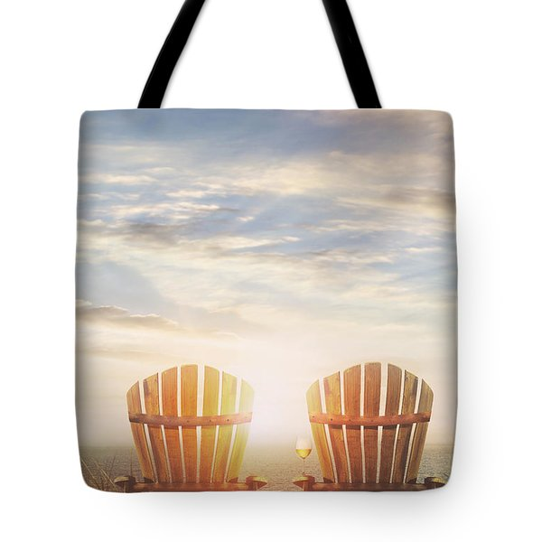 Summer Chairs Sand Dunes And Ocean In Background Tote Bag by Sandra Cunningham