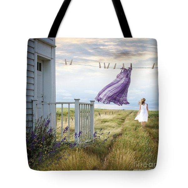 Summer Dress Blowing On Clothesline With Girl Walking Down Path Tote Bag by Sandra Cunningham