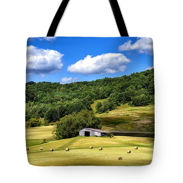 Summer Morning Hay Field Tote Bag by Thomas R Fletcher