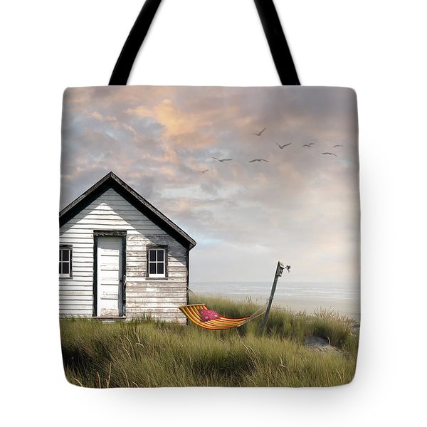 Summer Shack With Hammock By The Ocean Tote Bag by Sandra Cunningham
