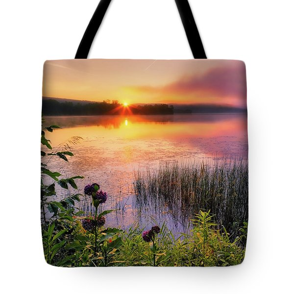 Tote Bag featuring the photograph Summer Sunrise Square by Bill Wakeley