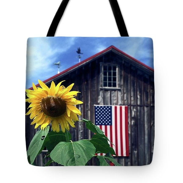 Sunflower By Barn Tote Bag by Sally Weigand