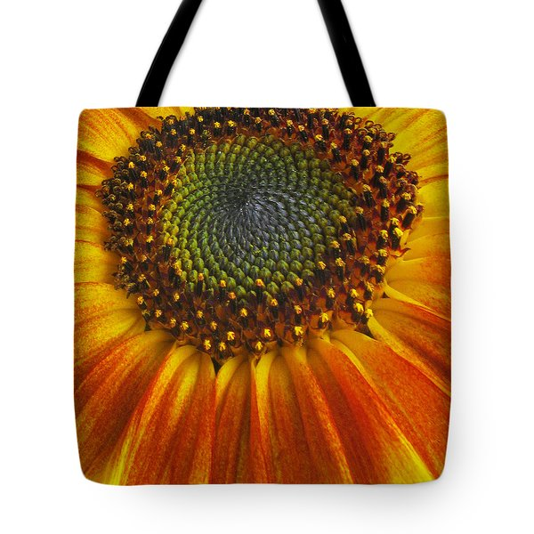Tote Bag featuring the photograph Sunflower Center by Elvira Butler