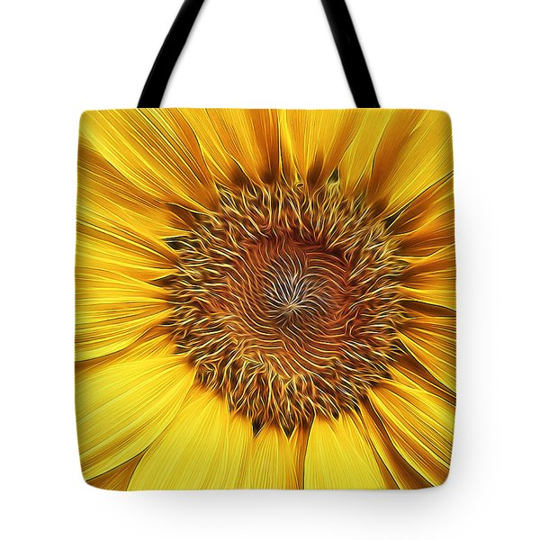 Sunflower Field At Sunrise Tote Bag