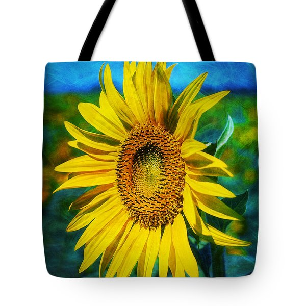 Tote Bag featuring the digital art Sunflower by Ian Mitchell