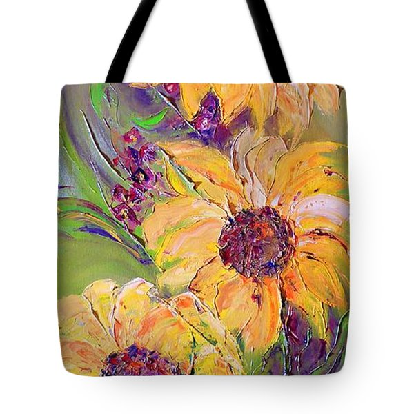 Tote Bag featuring the painting Sunflowers by AmaS Art