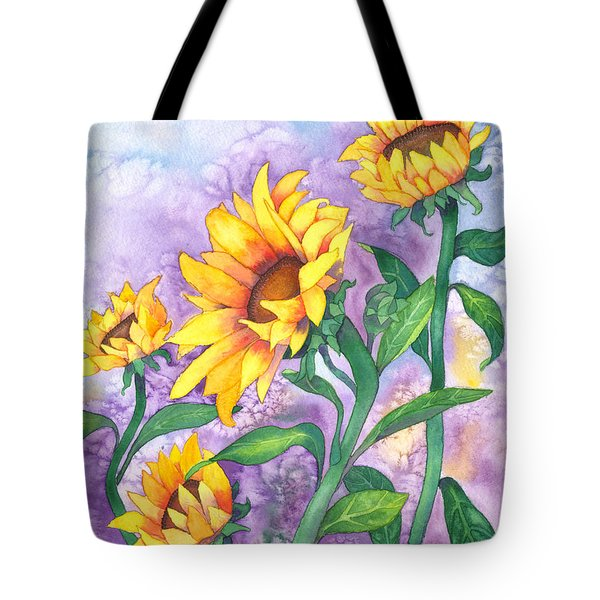 Tote Bag featuring the painting Sunny Sunflowers by Kristen Fox