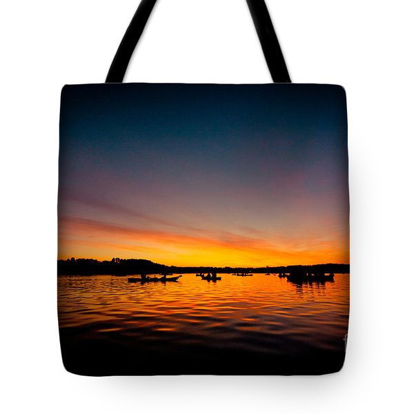 Sunrise Above Lake Water Summer Time Tote Bag