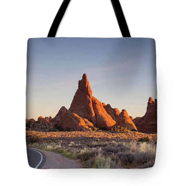 Sunrise In Arches National Park Tote Bag