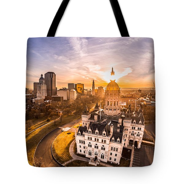 Sunrise In Hartford, Connecticut Tote Bag by Petr Hejl