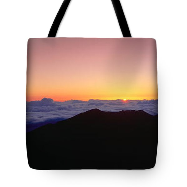 Sunrise Over Haleakala Volcano Summit Tote Bag by Panoramic Images