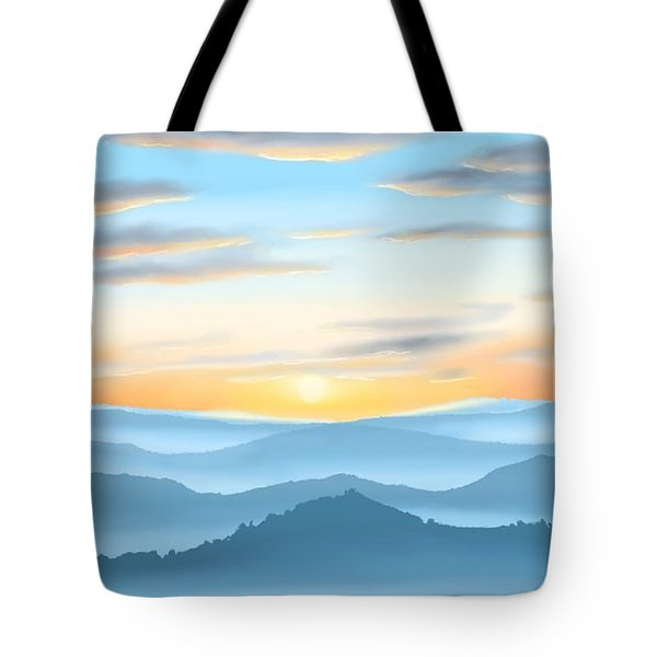 Tote Bag featuring the painting Sunrise by Veronica Minozzi