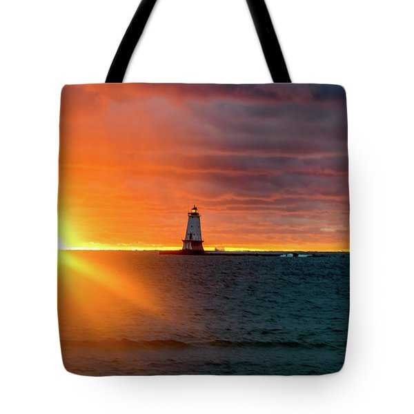 Tote Bag featuring the photograph Sunset And Lighthouse by Lester Plank