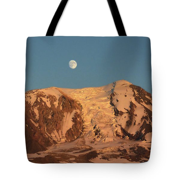 Sunset And Moonrise At Mt Adams Tote Bag
