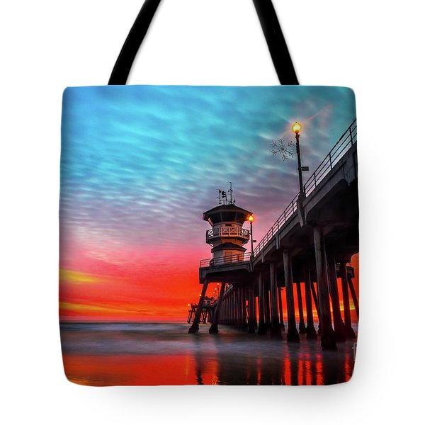 Sunset At Huntington Beach Pier Tote Bag