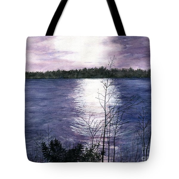 Tote Bag featuring the painting Sunset At Niagara River New York by Melly Terpening