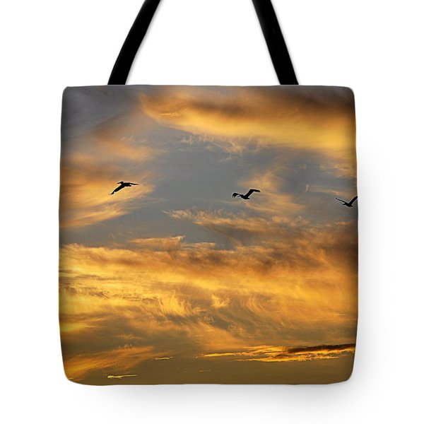 Tote Bag featuring the photograph Sunset Flight by AJ Schibig