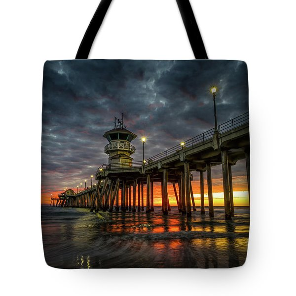 Sunset Huntington Beach Pier  Tote Bag
