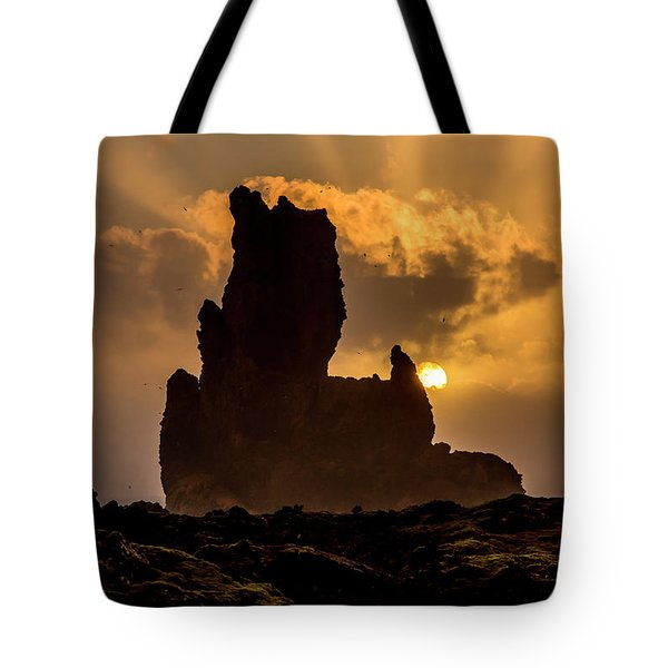 Sunset Over Cliffside Landscape Tote Bag