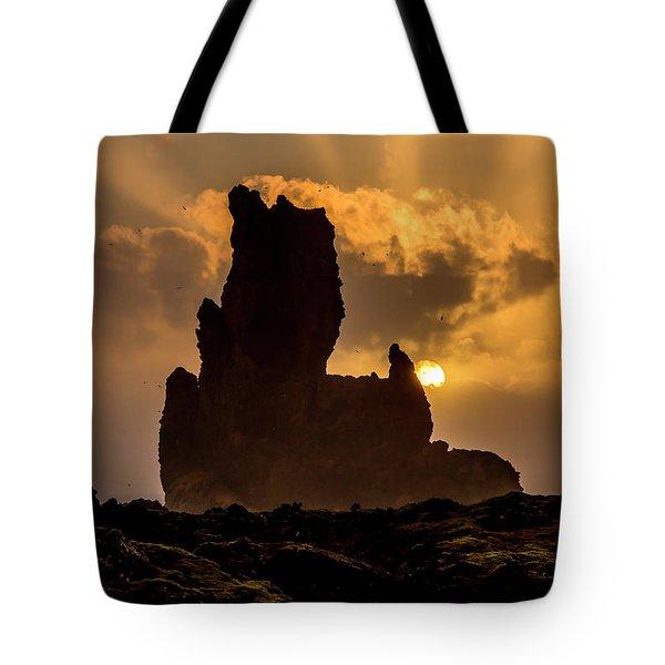 Sunset Over Cliffside Landscape Tote Bag by Joe Belanger