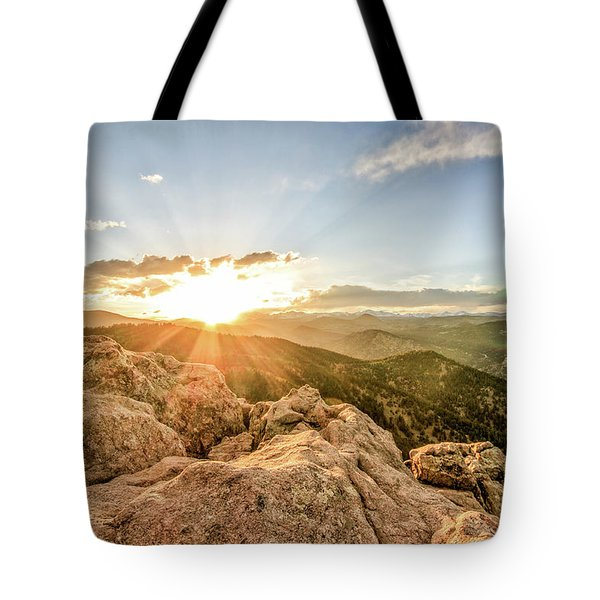 Sunset Over The Mountains Of Flaggstaff Road In Boulder, Colorad Tote Bag by Peter Ciro