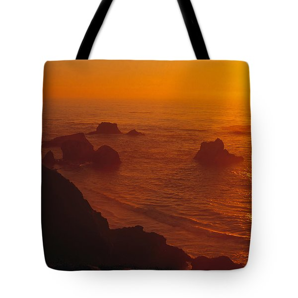 Sunset Over The Pacific Ocean Tote Bag