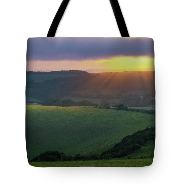 Sunset Over The South Downs Tote Bag