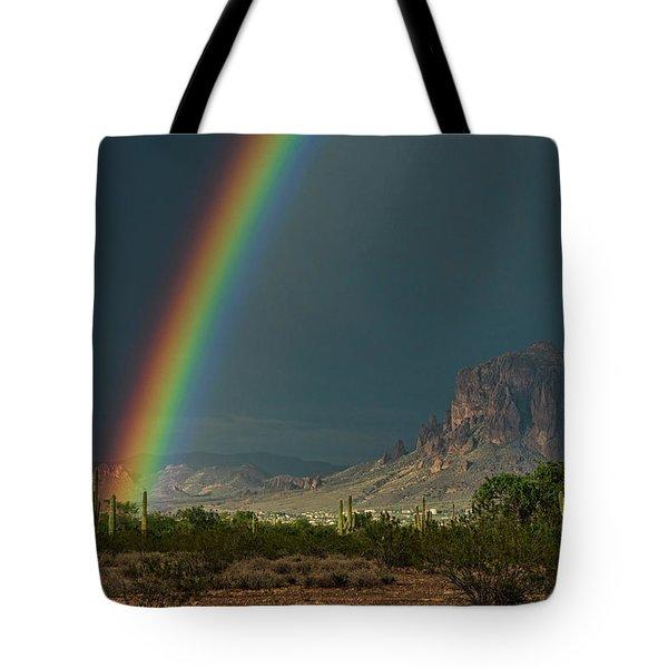 Tote Bag featuring the photograph Superstition Rainbow  by Saija Lehtonen