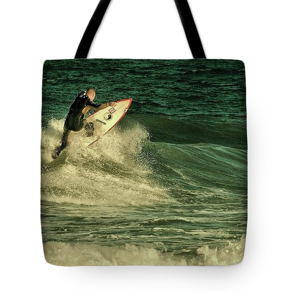 Surfing - Jersey Shore Tote Bag by Angie Tirado