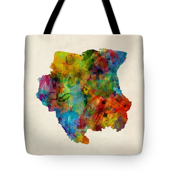 Suriname Watercolor Map Tote Bag by Michael Tompsett