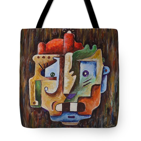 Tote Bag featuring the painting Surrealism Head by Sotuland Art