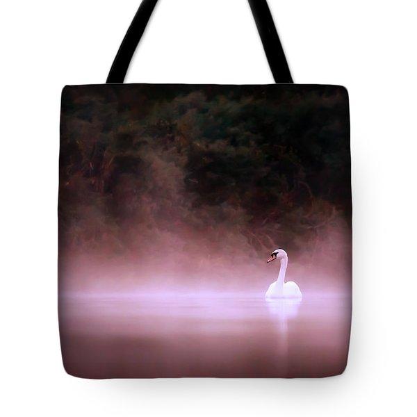 Swan In The Mist Tote Bag