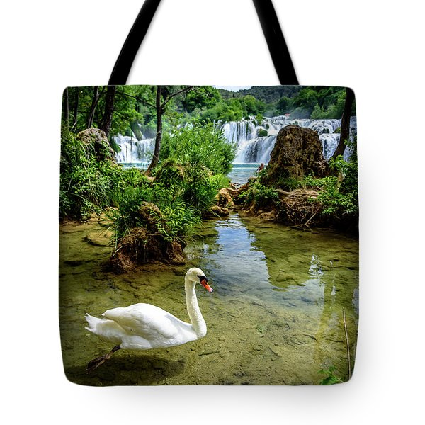 Swan In The Waterfalls Of Skradinski Buk At Krka National Park In Croatia Tote Bag