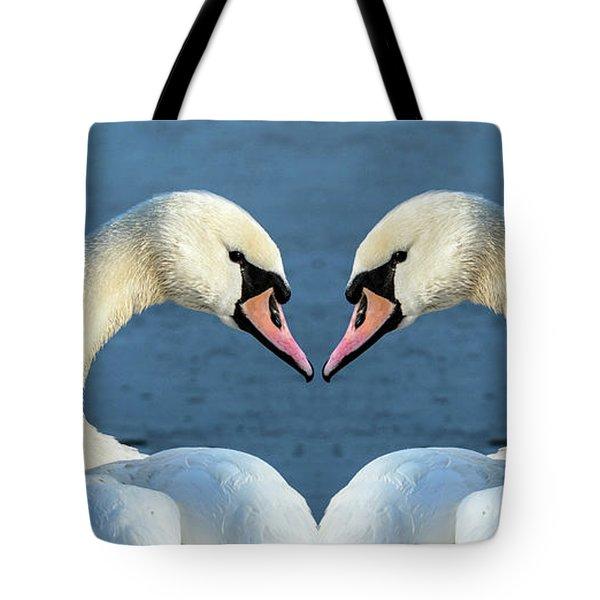 Swans Portrait Tote Bag