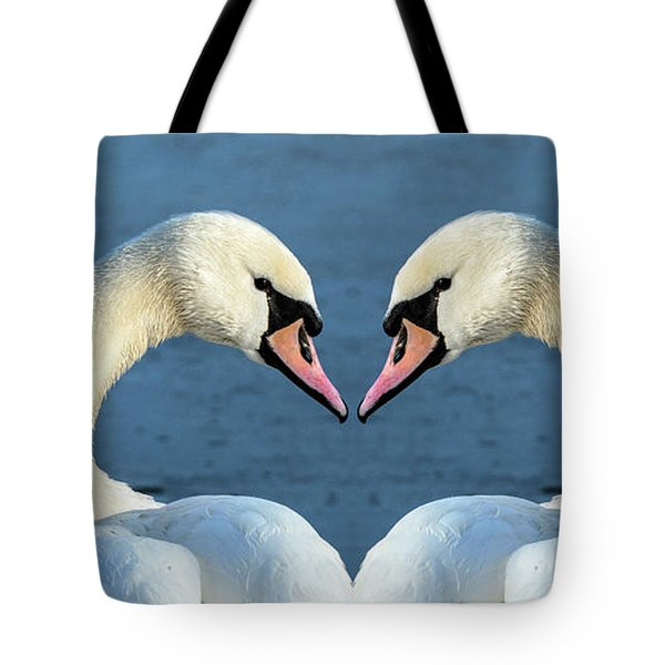 Swans Portrait Tote Bag