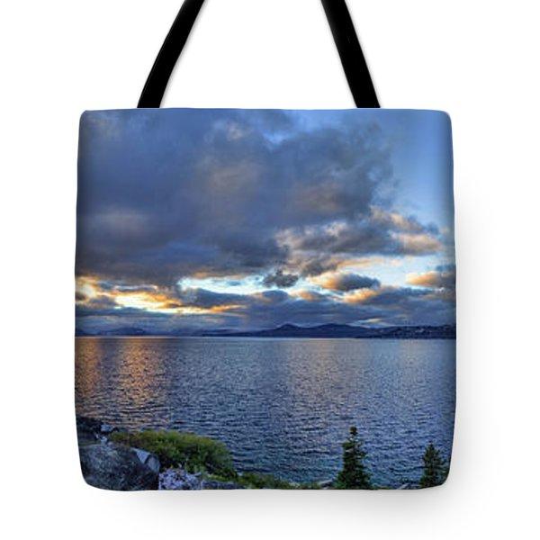 Tahoe Sunset Panorama Tote Bag