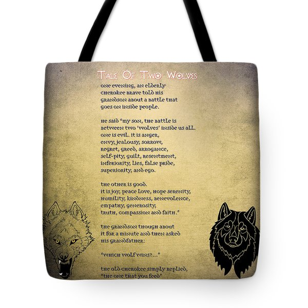 Tote Bag featuring the painting Tale Of Two Wolves - Art Of Stories by Celestial Images