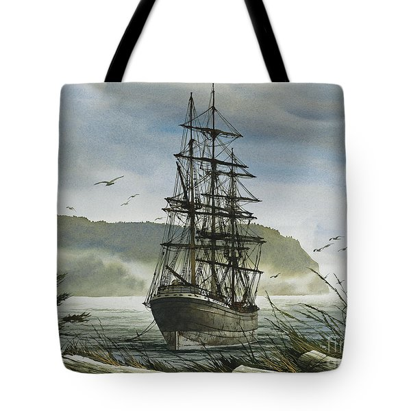 Tote Bag featuring the painting Tall Ship Cove by James Williamson