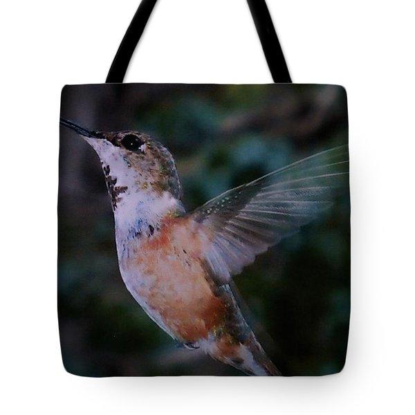 Tan Hummingbird Tote Bag