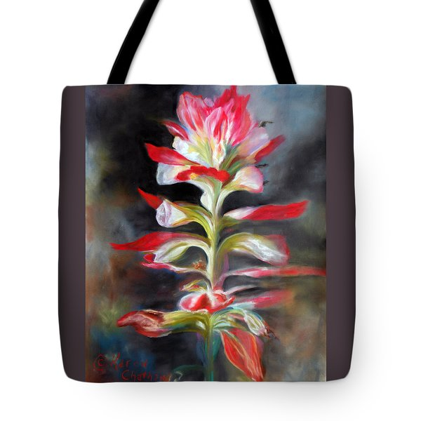 Tote Bag featuring the pastel Texas Indian Paintbrush by Karen Kennedy Chatham