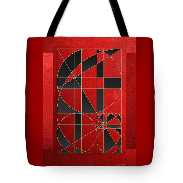 The Alchemy - Divine Proportions - Black On Red Tote Bag