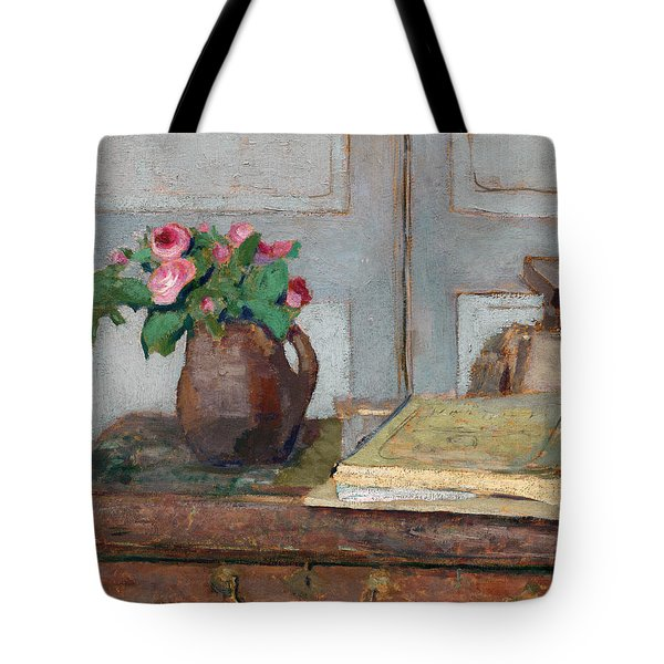 The Artist's Paint Box And Moss Roses Tote Bag