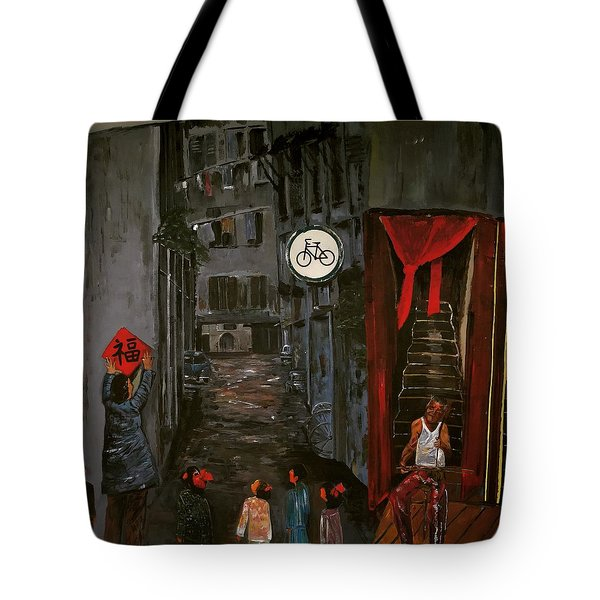Tote Bag featuring the painting The Backlane by Belinda Low