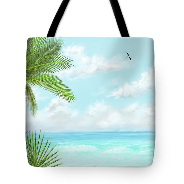 Tote Bag featuring the digital art The Beach by Darren Cannell