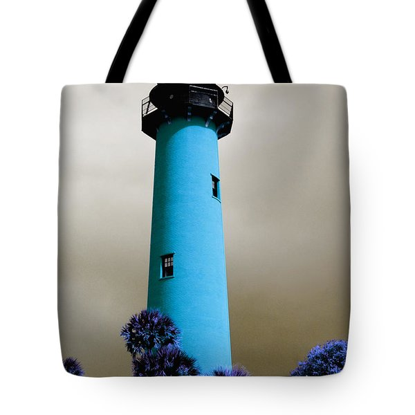 Tote Bag featuring the pyrography The Blue Lighthouse by Artistic Panda